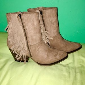 MIA BROWN SUEDE FRINGE BOOT